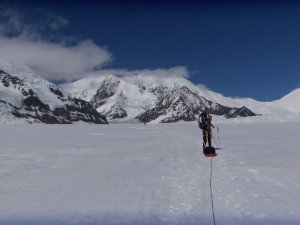 Roped up on Mt. Denali for glacial travel