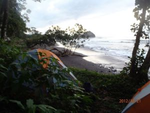 Tents near the beach on Bioko Island, Equatorial Guinea.