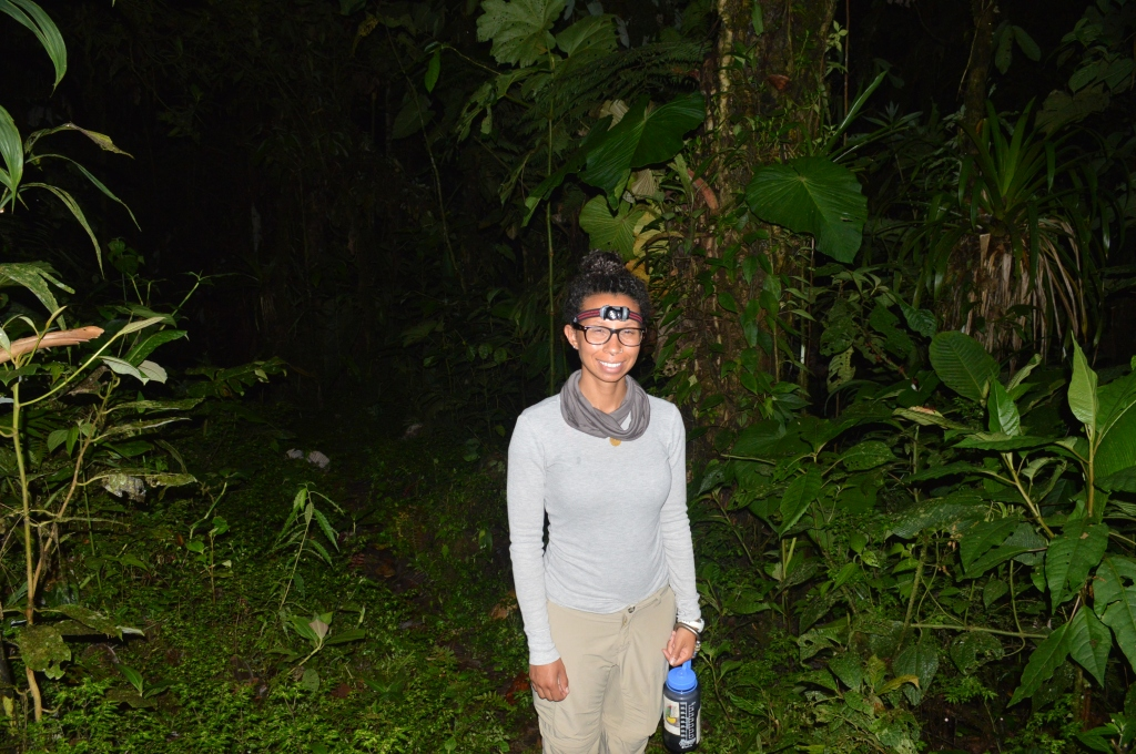 It was hard to take good pictures of people in the cloud forest at night. We both ended up looking squinty in the glare of the flash.
