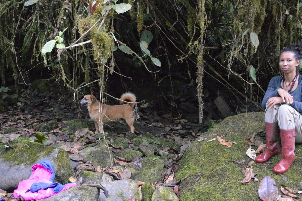 """Erin on a boulder next to """"Spaz"""" Holly's brother, whose real name we never knew. Spaz was pretty apt though. He visited us with Holly a couple times."""