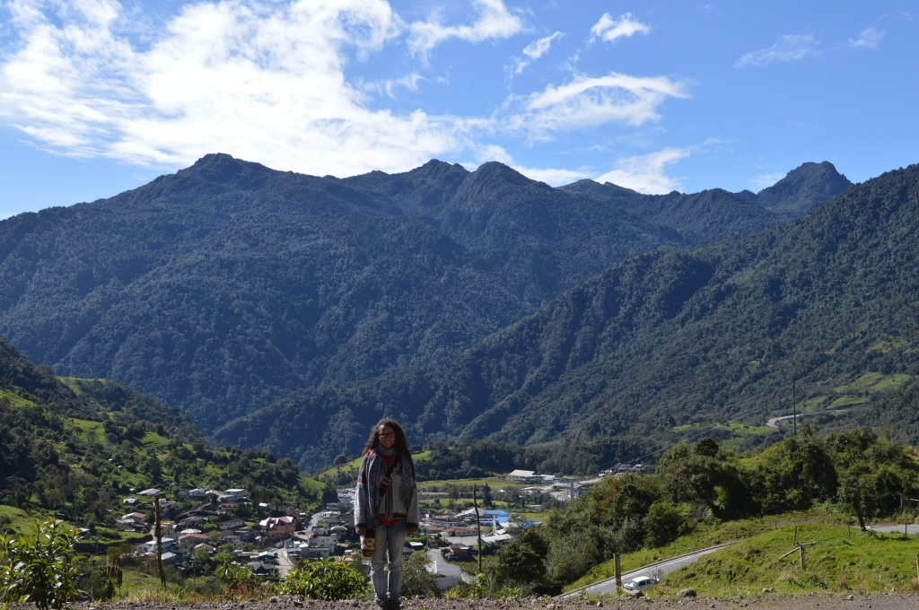 Erin in Papallacta, Ecuador, a mountain town with hot springs where we stayed for a day at the end of our trip.