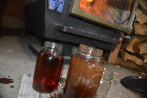 Lye water mixture in jars after being separated from the ash