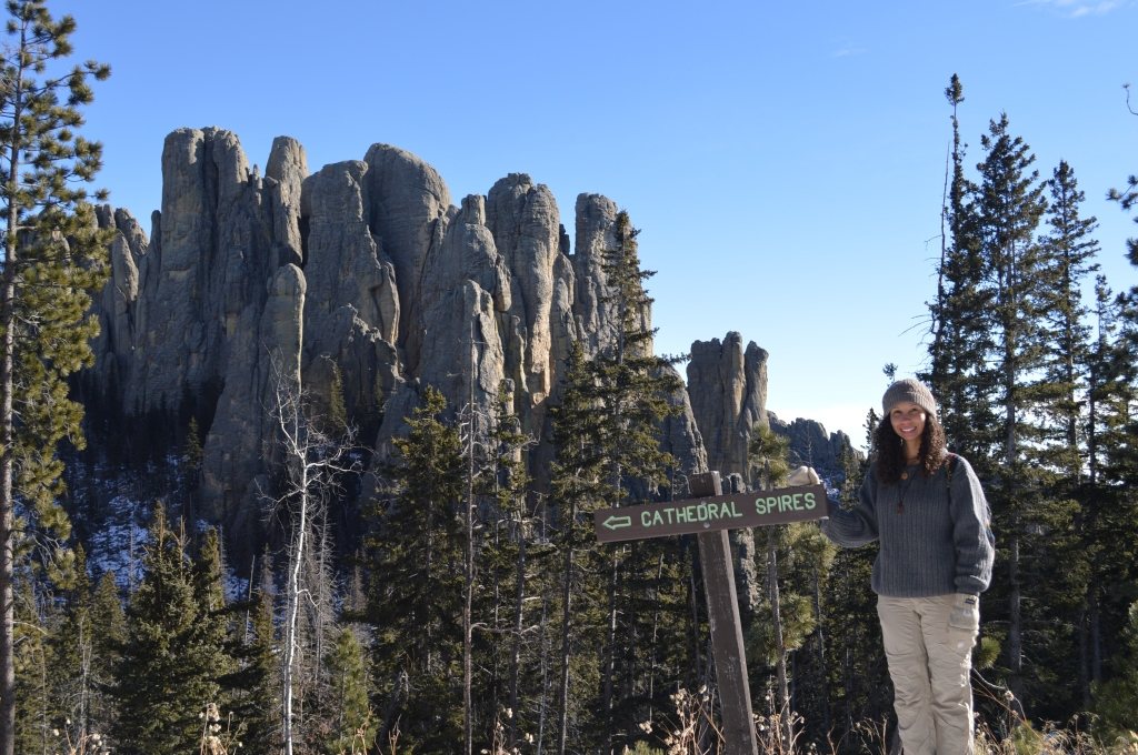 Erin at Cathedral Spires, Custer State Park, South Dakota