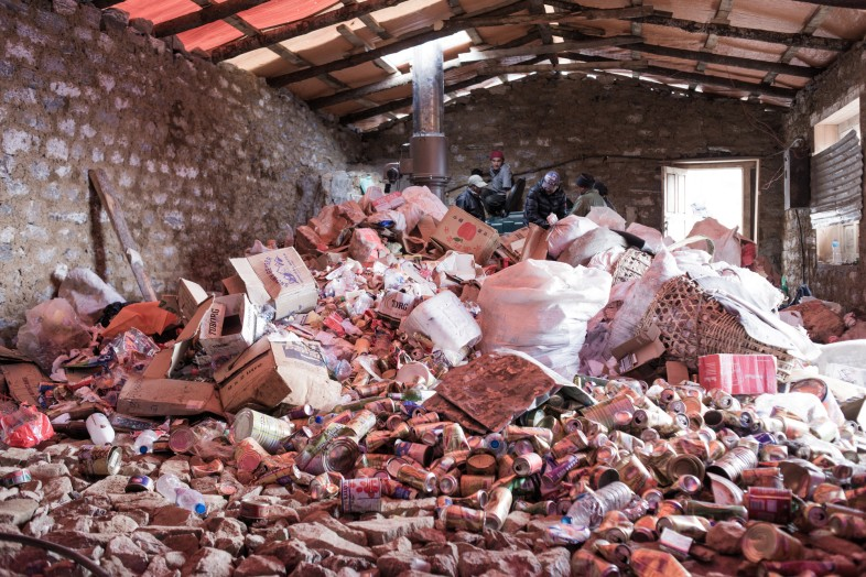 Collected waste at storage house