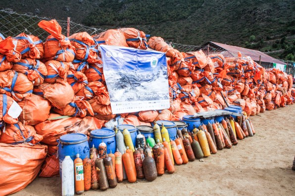 Collected waste from Mt. Everest - in namche bazaar, displaying forpublic