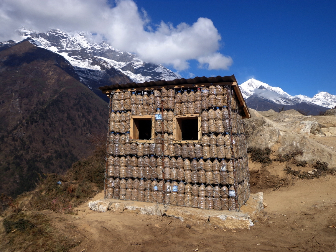 Reusing mineral water bottels at Namche