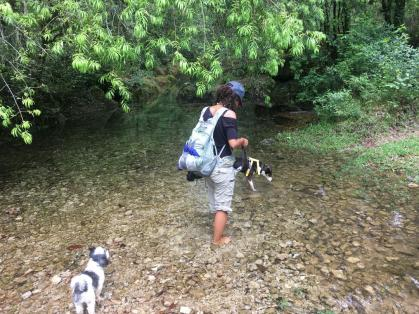 Erin crossing a stream